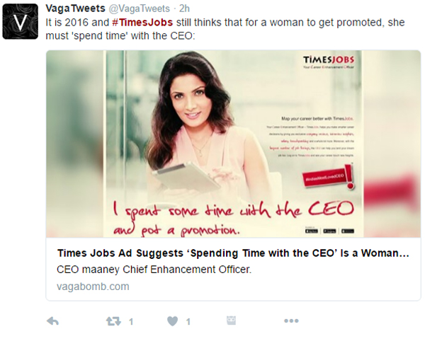 Times Jobs' Latest CEO Advertisement received Criticism on Social Media
