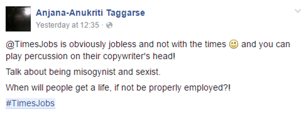 Times Jobs' Latest CEO Advertisement received Flak on Facebook