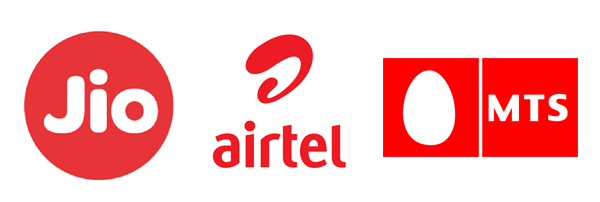 (Left to Right): RJio's Logo, Airtel's Logo, MTS' Logo